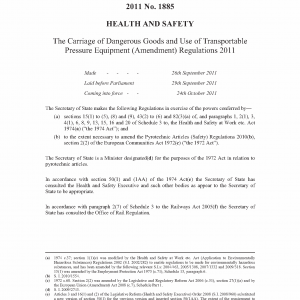 2011 Carriage of Dangerous Goods & UTPE Regulations